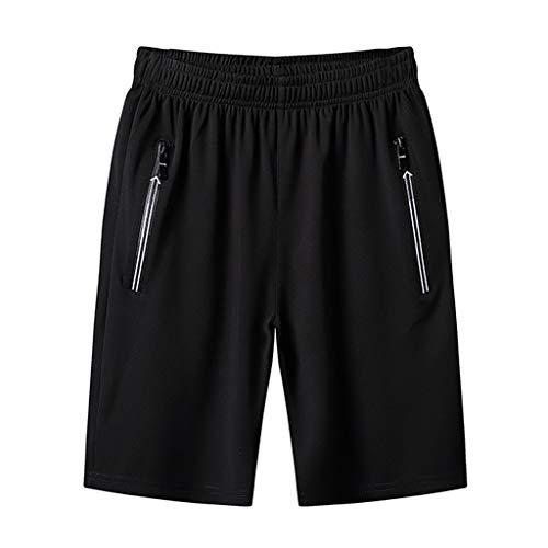 Morran Männer Herren Kurze Hose Jeans Cargo Shorts Jogger Basic 3/4 Hose Sommer Plus Größe dünne, schnell trocknende Strandhosen lässige Sportshorts(Schwarz,XXL) -