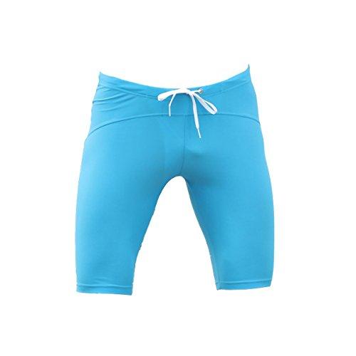 KUWOMINI.Men 5 Punkte Badehose Enge Lange Abschnitt Tauchen Fitness Sport Badebekleidung Blue2