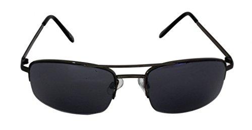 Foster Grant SPVL14920 FG110 Herren Rechteck, Full-Frame Sonnenbrille Schwarz Gun Metall Rahmen & Arme UV400 Schwarz Semi Rimless Linsen 100% UV-Schutz CAT 2