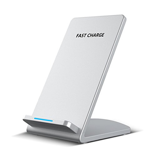 Fast Wireless Charger Qi Wireless Schnell-Ladegerät Ladeschale Kabellos laden für iPhoneX iPhone 8 Samsung Galaxy Note 8, Silber