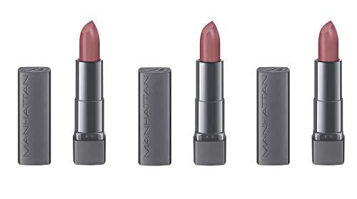 Manhattan All In One Matte Lipstick 100 Brown-ish, 3er Pack (3 x 4 g) - Brown Matte Lippenstift