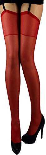 *2 Paar klassische elastische Strapsstrümpfe alle Farben zum Anstrapsen Strapse Strümpfe 20 den (rot)*