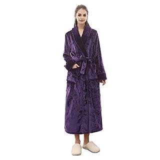 H HIAMIGOS Luxuriöser Velours-Frottee Bademantel Morgenmantel Nachtwäsche Kimono Saunamantel mit Schalkragen,violett,XL