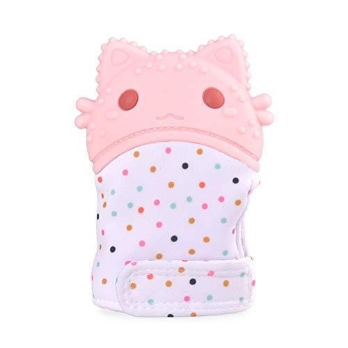 BABY FFM Gants De Dentition en Silicone Anneaux De Dentition Garçons Filles Garçons Bébés Sécuritaires Moufles Apaisantes 10 X 6 Cm(4 X 2.4 in),Cherry*Blossom*Pink