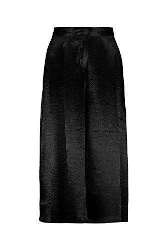 Noir Femme Amelle Pleat Front Tailored Satin Culottes Noir