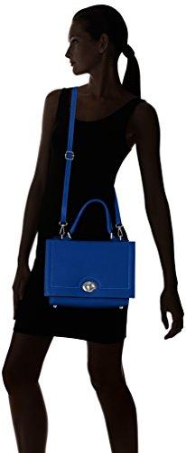 Chicca Borse Damen 8645 Schultertasche, 30x22x10 cm Blau (Blue)