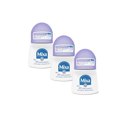 Mixa 0% Aluminium Salze Deodorant Roll-on, für empfindliche Haut, hochverträglich, bis zu 48 h Wirksamkeit, ohne Alkohol, 3er Pack (3 x 50 ml) - Aluminium 48