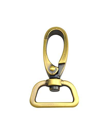 wuuycoky 2,5cm Innendurchmesser D Ring Schillernde Messing antik olive Schnalle Karabiner Verschlüsse Karabinerhaken Haken, Zinklegierung, 4 Pcs -