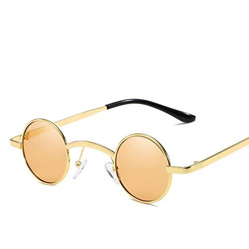 YOURSN Gothic Steampunk Goggles Sonnenbrille Damen Alloy Round Fame Sonnenbrille Herren Trend Retro Mirror Reflective Sunglass Uv400-Brown