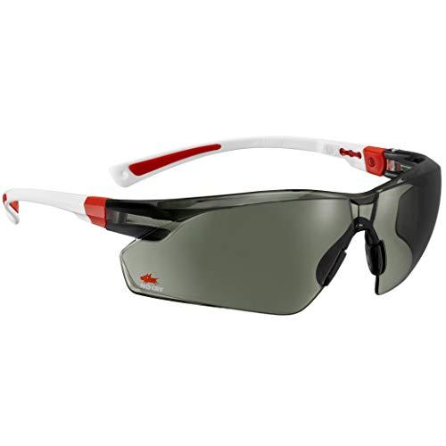 NoCry Sonnen-Schutzbrille mit grün getönten, kratzbeständigen Gläsern, Seitenschutz und Rutschfesten Bügeln, 400 UV-Schutz, verstellbar, weiß roter Rahmen