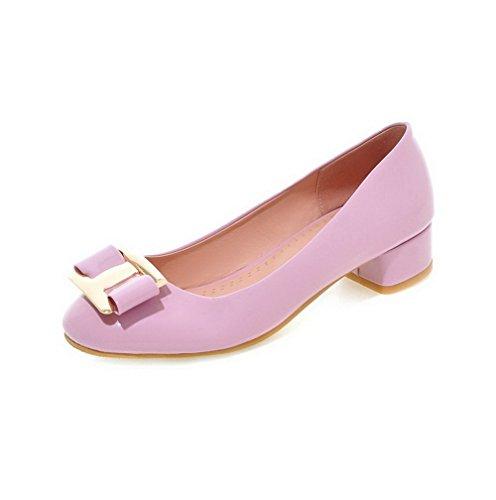 AgooLar Femme Verni Carré à Talon Bas Tire Mosaïque Chaussures Légeres Violet