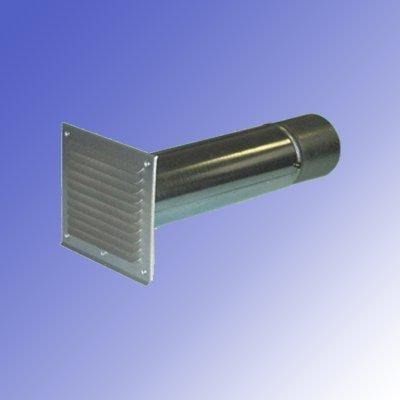 IKM Teleskop-Mauerkasten aus Metall zu Abluftsystem-mit Lüftungsgitter und innenliegender Rückschlagklappe- Durchmesser:150mm
