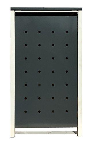 BBT@ | Hochwertige Mülltonnenbox für 3 Tonnen je 120 Liter mit Klappdeckel in Grau / Aus stabilem pulver-beschichtetem Metall / Stanzung 1 / In verschiedenen Farben sowie mit unterschiedlichen Blech-Stanzungen erhältlich / Mülltonnenverkleidung Müllboxen Müllcontainer - 8