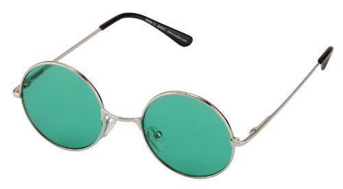 Sonnenbrille Nickelbrille mit runden Gläsern und Federscharnieren retro Art. 8058-13 silber / grün transparent