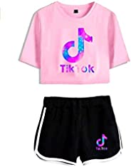AMAZING1 Camiseta TIK-Tok de moda para mujer con pantalones cortos, 2 piezas, juego de chándal para niñas y mu