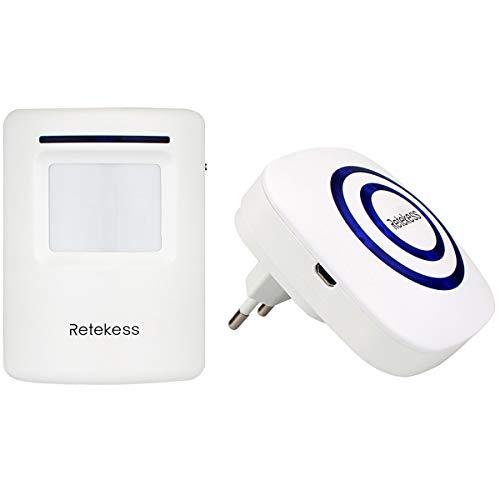 Retekess T801 Bewegungsmelder PIR Sensor Chime Wireless Türklingel für Home Shop (weiß) - Wireless Home
