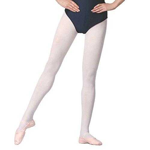 Txj collant balletto per ragazze e donne (bianco, m (altezza 130-150cm))