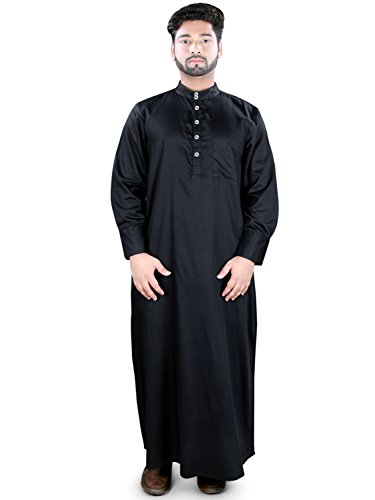 MyBatua Negro algodón Tamir Galabiyya Dishdash, Daffah, thobe GM-033 (3XL)