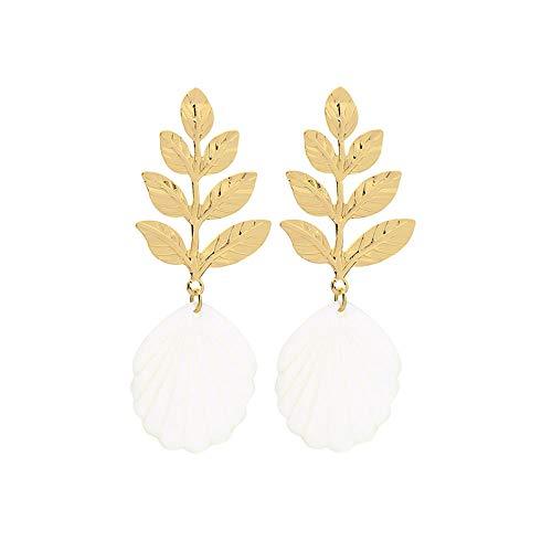 ATTZB Ohrhänger Meer Stil AST Blatt Eisen Blätter Weiß Shell Ohrringe Für Frauen Gold Farbe Baumeln Ohrringe Mode Zubehör Ohrstecker -