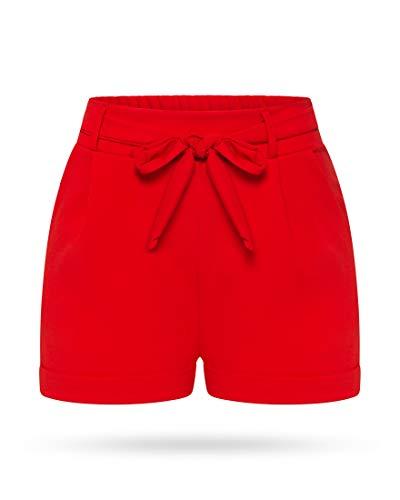 Kendindza Damen Sommer Shorts | Kurze Hose mit Schleife zum binden | Bermuda | Uni-Farben (L/XL, Rot)