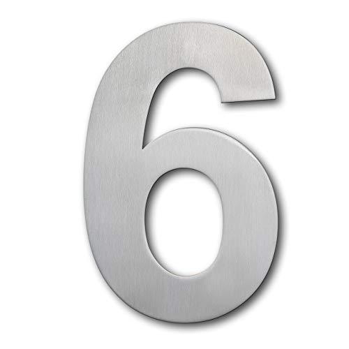 QT Moderne Hausnummer - EXTRA GROß 25.4 Zentimeter - Gebürsteter Edelstahl (Nummer 6 Sechs / 9 Neun), Schwimmendes Aussehen, Einfache Installation und aus massivem hergestellt 304