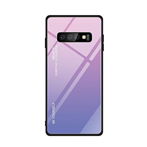 niter Kompatibel mit Samsung Galaxy S10e|S10|S10 Plus|S10 5G Farbverlauf Farbe Glasmalerei Handyhülle Ultradünn Slim Weichem TPU Silikon Rahmen & Gehärtetes Glas Zurück Cover (S10, Pink+Lila) - Lila Glasmalerei