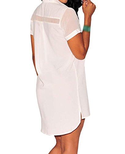 E-Girl D22184C1 femme mode Robe chemise Blanc