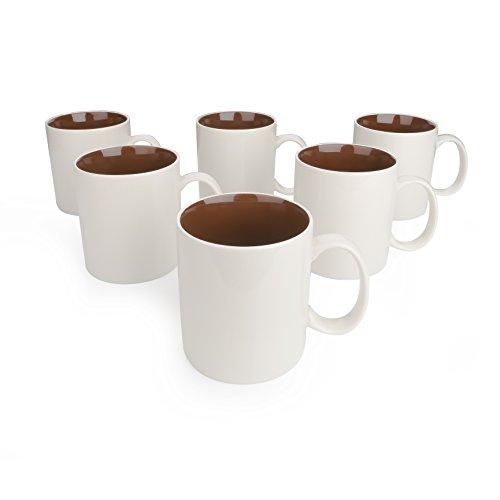 Panbado Kaffeebecher 6-teilig Set aus Porzellan, 450 ml Kaffeetassen, Braun + Creme