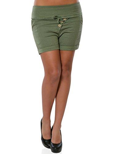Damen Shorts Hot-Pants Kurze Sommer Hose Chino Stoffhose No 15871 Khaki M / 38