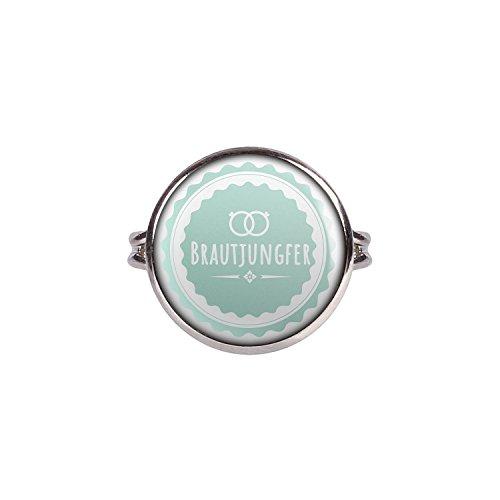 Mylery Ring mit Motiv Braut-Jungfer Ringe Türkis silber 16mm
