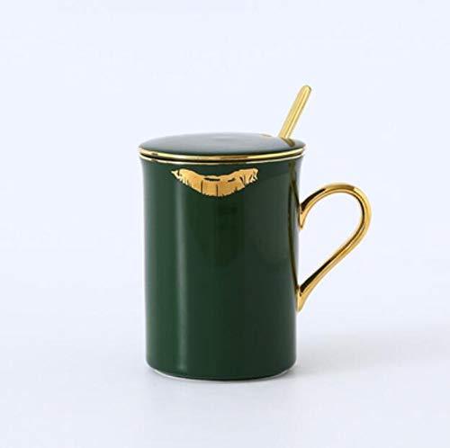 qnmbdgm 1 stück nordische Keramik Becher mit Deckel löffel Beast lippendruck goldrand europäischen kaffeetasse Mark Tasse Paar Tasse 350ml