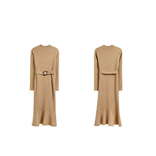Gerippte Mock Neck Sweater (Lfives-cl Damen Elegantes Kleid Frauen Damen Mock Neck Langarm meerjungfrau Slim fit Maxi Strickpullover Dress super weiche Pullover Bodycon Bleistift Dress mit gürtel Cocktailkleid)