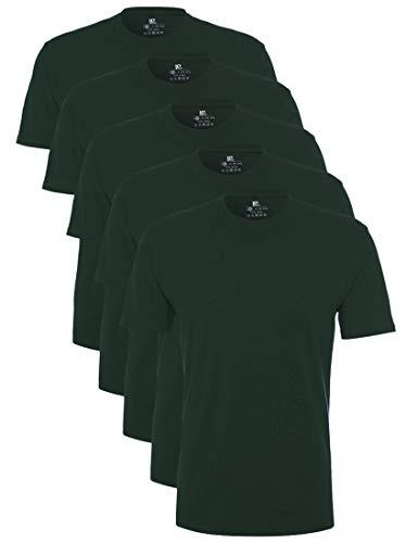 Lower East Herren T-Shirt mit Rundhalsausschnitt, 5er Pack, Grün(Dunkelgrün), X-Large