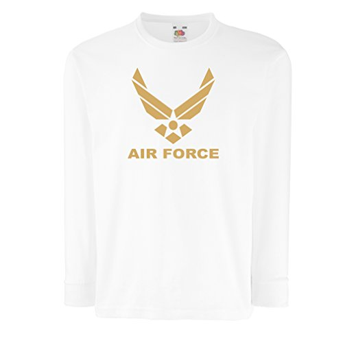 Kinder-T-Shirt mit Langen Ärmeln United States Air Force (USAF) - U. S. Army, USA Armed Forces (3-4 Years Weiß Gold) (T-shirt Force Air Kleinkinder)