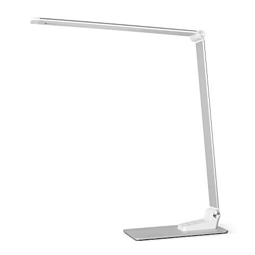 Deckey Schreibtischlampe Metall LED 12W Büro Tischleuchte 5 Farb und 6 Helligkeitsstufen dimmbar Memory-Funktion USB-Anschluss für Aufladung des Smartphones Tischlampe Augenschutz Touchfeldbedienung