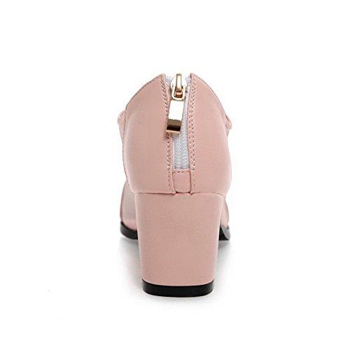 Zipper Rosa Médio Dedo Senhoras Bombas Apontado Allhqfashion Salto Puramente Sapatos CtX8q