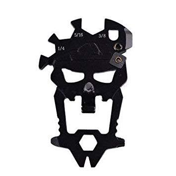 Sellify Cuisine & Outils Gadgets Cuisine Ouverture Outil - 12 en 1 extérieur Crâne multifonctionnel Combinaison bouteille multi-fonction OpenerKeySharpener Kit de survie Mutifunctional Carabiner -
