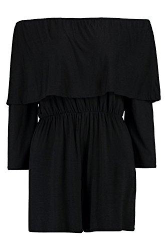 Noir Femmes diana combishort à double volant et épaules dénudées Noir
