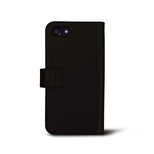 Lucrin - iPhone 7-Hülle im Brieftaschenformat - Dunkelbraun - Glattleder Dunkelbraun