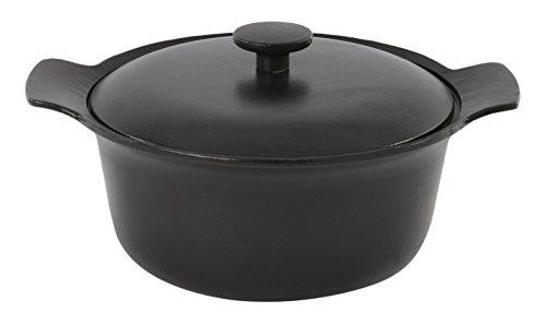 Pan Pot Crock (Berghoff Ron Gusseisen emailliert Runde Kasserolle mit Deckel, schwarz)
