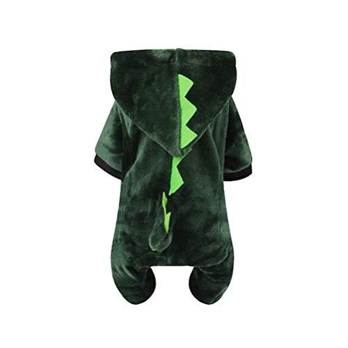Dinosaurier Kostüm Welpen - POPETPOP Pet Dinosaurier Kostüm mit Hut Hund Weihnachten Winter Kostüm Cosplay Anzug Outfit Warme Kleidung Hoodie für Welpen Hund Große Hund Katze Größe S
