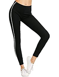 BLINKIN Yoga Gym Workout and Active Sports Fitness White Striped Black Leggings Tights for Women|Girls(6036)