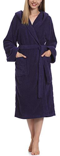 Ladeheid Albornoz de Baño 100% Algodón Ropa de Casa Mujer LA40-193 Azul Oscuro-29 Densidad de 400...