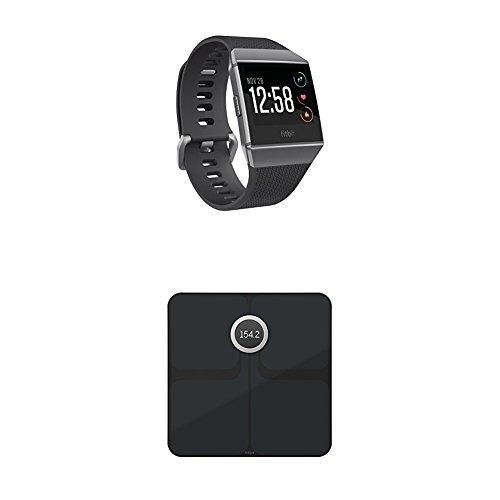 Fitbit Ionic Health & Fitness Smartwatch, Charcoal, Onesize + Aria 2 Intelligente Wlan-Waage, Black, Onesize