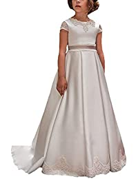 MerryGirl Vestido de Fiesta de niña de Arco Corto con Apliques de Raso Vestido de Fiesta