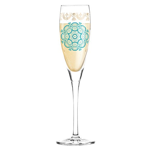 Ritzenhoff 3250024 Pearls Edition Proseccoglas, Kristall, türkis / petrol / rose gold, 3.8 x 3.8 x 11.1 cm