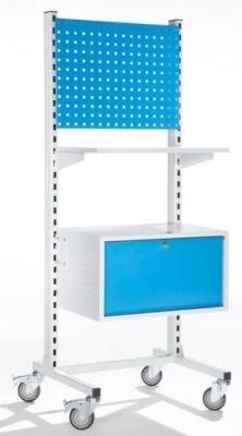 Mobiles Werkstattpult mit Hängeregistraturschublade und Lochwand - Stehtische Stehpulte Pulte...