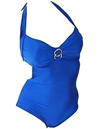 Maillot de bain 1 pièce monokini noir ou bleu royal uni femme