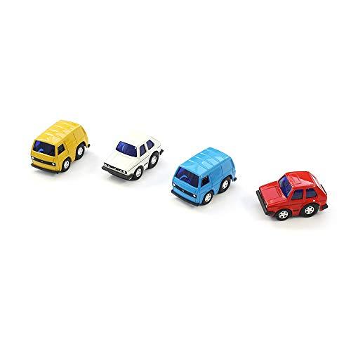 Volkswagen 1H0099305 Spielzeugauto (4 Stück) mit Rückziehfunktion Miniatur Pullback VW T3 / Golf GTI -