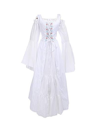 lter-Kostüm Langarm Vintage Retro Mittelalterkleid Gothic Prinzessin Kleid Weiß 3XL ()